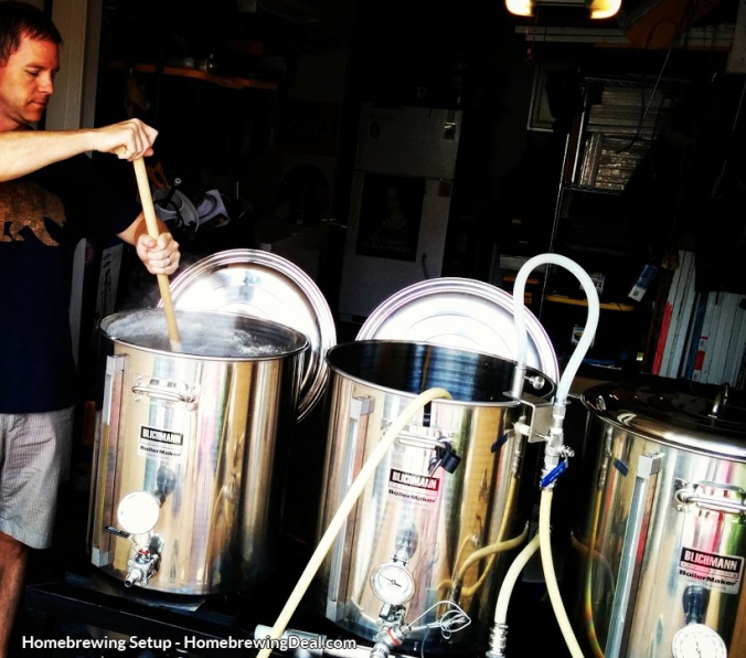 Home brewer, brewing beer on a homebrewing beer setup