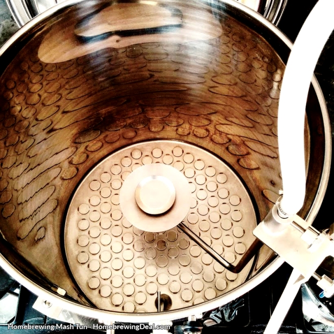 Stainless steel homebrewing mash tun with a sparge arm. Used to drain the sugars from your grains during beer brewing.