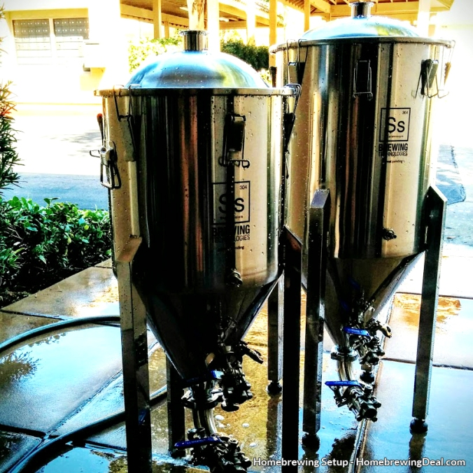 2 Stainless Steel Conical Homebrewing Fermenters, used to ferment beer during the homebrew fermentation process