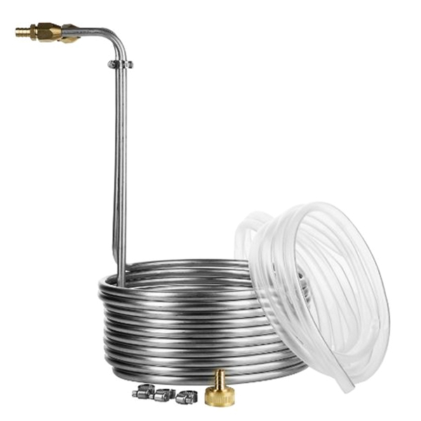 Stainless Steel Wort Chiller with Fittings