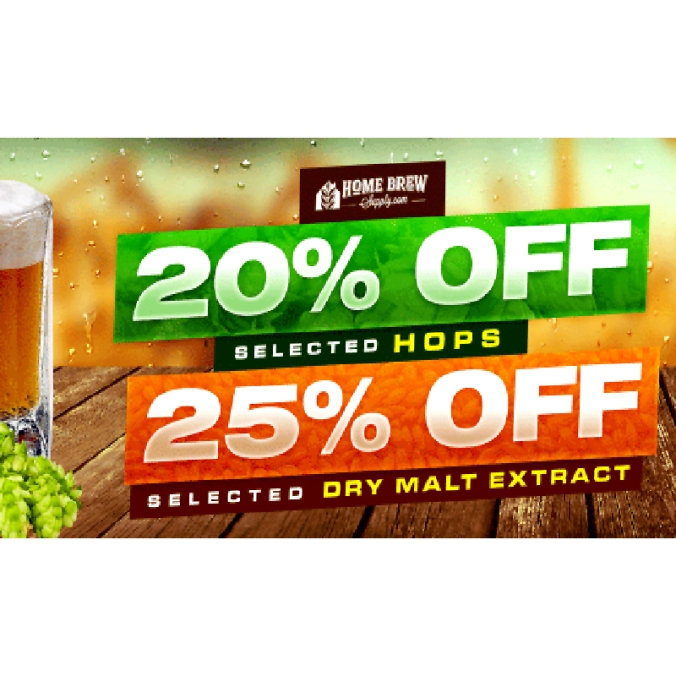 Save 20% Off Hops and 25% Off Malt Extract