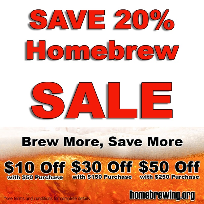 Save 20% On Almost Everything at Homebrewing.org