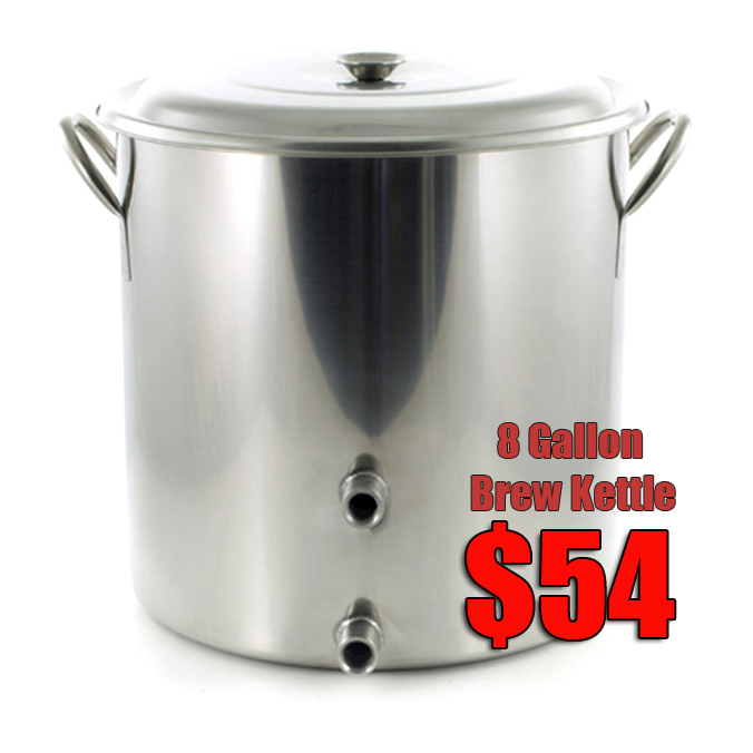 "8 Gallon Stainless Steel Homebrewing Kettle Sale with 2 1/2"" Ports"