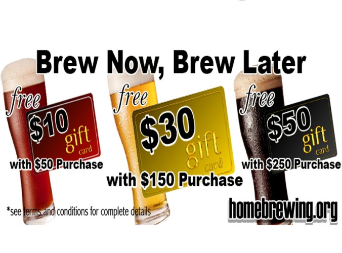 Adventures in Homebrewing Giftcard Deal, get up to $50 back