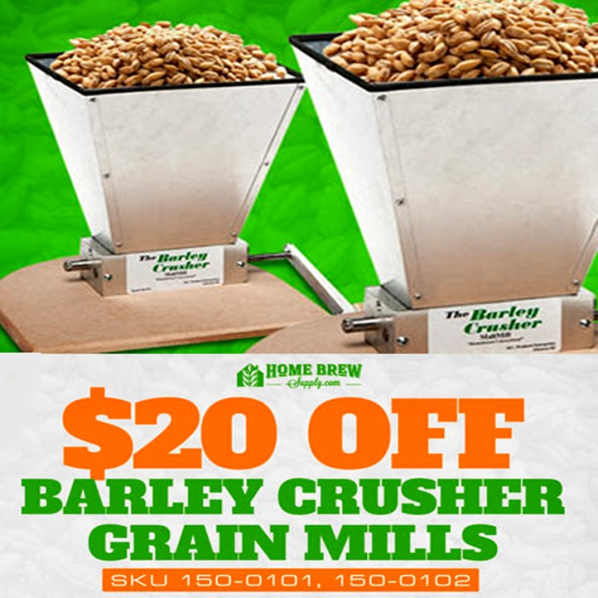 Save $20 On a Home Brewing Barley Crusher Grain Mill