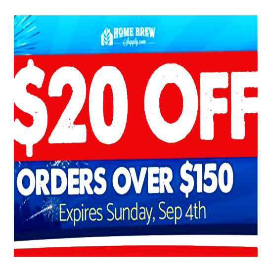 September Homebrewing Coupon Save $20 on orders of $150
