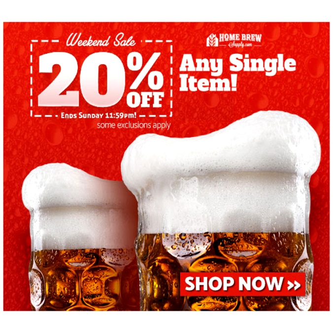 Save 20% On Any Homebrewing Item Coupon Code for HomebrewSupply.com