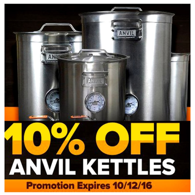 Save 10% On Anvil Home Brewing Kettles #homebrewing #kettle #pot #stainless #steel #promo #coupon #code #homebrew