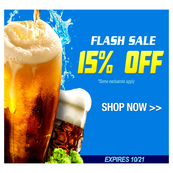 Home Brewing Flash Sale Save 15% on Homebrew Supplies and Equipment! #homebrew #homebrewing #home #brewing #supply #home #brew #beer #brewing #brewer #equipment