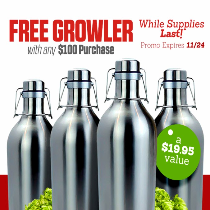 Get a Free Stainless Steel Growler with a $100+ Purchase #homebrew #supply #stainless #steel #growler #promo #code #coupon