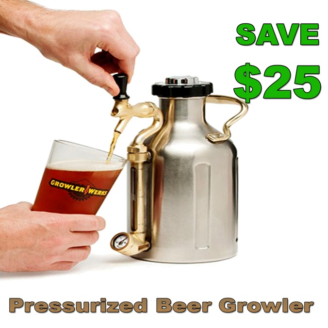 Save $25 On a GrowlerWerks Pressurized Beer Growler #beer #growler #growlerwerks #growlerworks #promo #code #coupon #deal #best #gift #idea #homebrew #home #brew #brewing #brewer #lover #pressurized #stainless #steel #homebrewing #werks #works