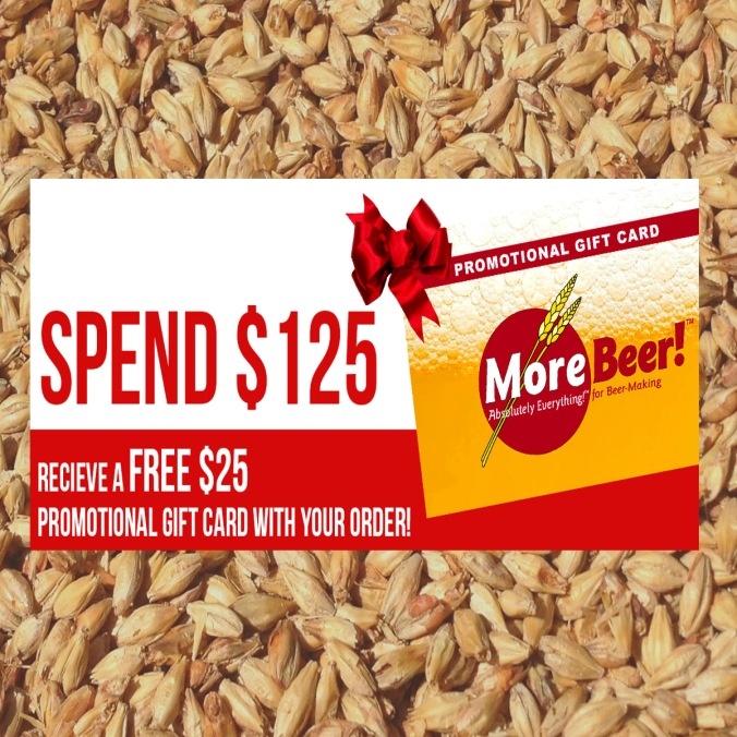 MoreBeer.com Gift Card Promo Code Spend $125 and Get a $25 Giftcard