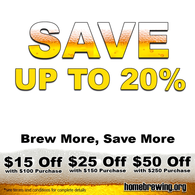 Adventures in Home Brewing Promotion, Save 20% On Your Homebrewing.org Purchase #homebrewing #home #brew #brewing #coupon #deal #promotion #promotional #equipment #beer #recipe #homebrewer #sale