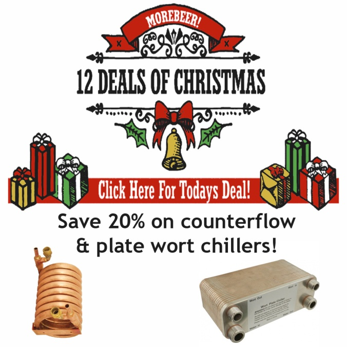 Save 20% on Counterflow and Plate Wort Chillers during the MoreBeer.com 12 days of Christmas Home Brewing Sale #homebrewing #christmas #gift #sale #promo #code #coupon