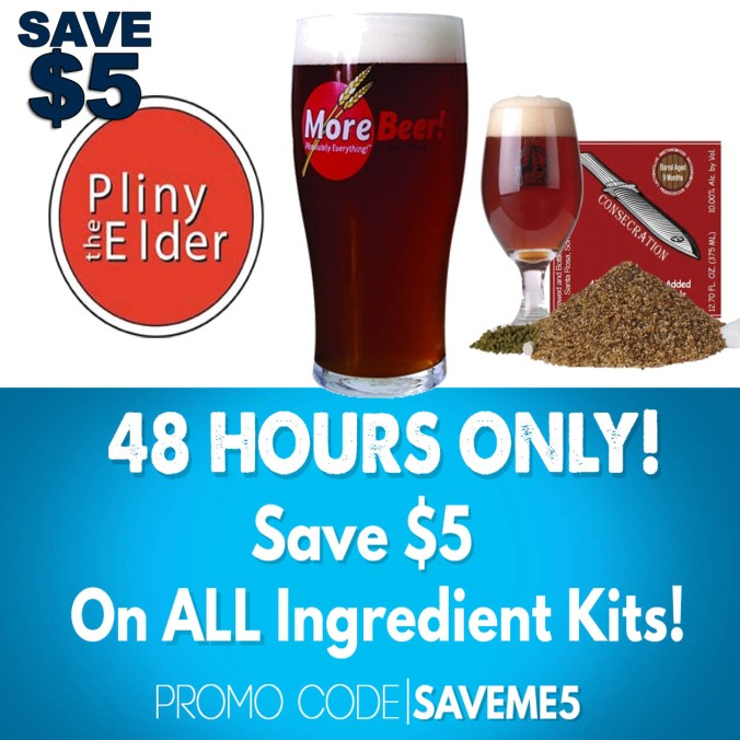 Save $5 On Every Beer Kit with this MoreBeer.com Coupon #homebrew #beer #recipe #kit #promo #code #coupon #homebrewing #home #brewing #pliny #the #elder #plinytheelder