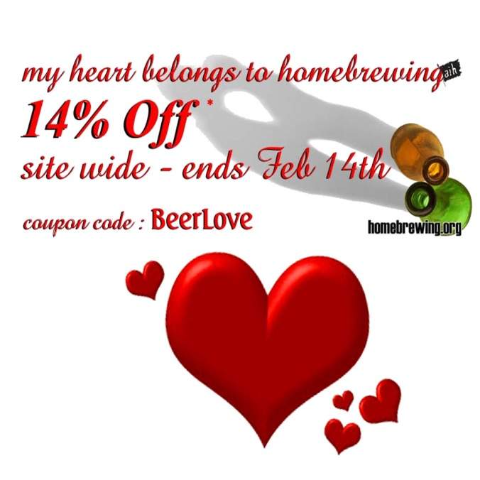 Save 14% On Your Homebrewing Ingredient, Equipment and Supplies!