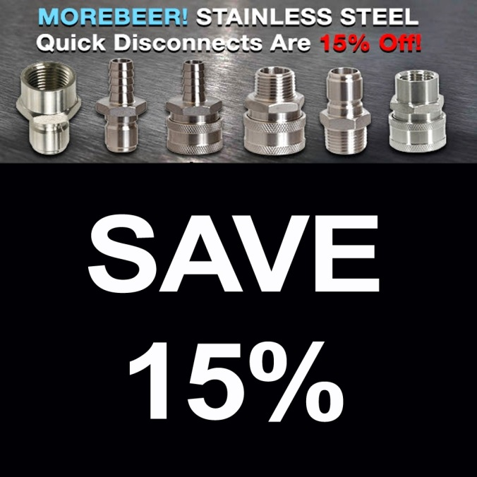 MoreBeer.com Promo Code for 15% Off on Stainless Steel Quick Disconnects