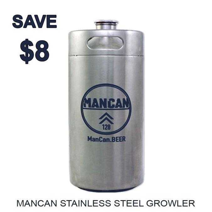 Save $8 On A Stainless Steel MANCAN Growler - Today Only with this MoreBeer Coupon Code