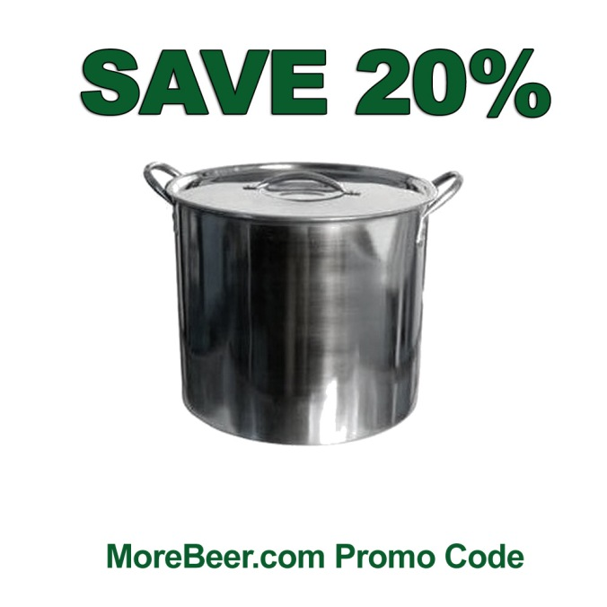 Save 20% On A 5 Gallon Stainless Steel Home Brewing Pot with this More Beer Promo Code