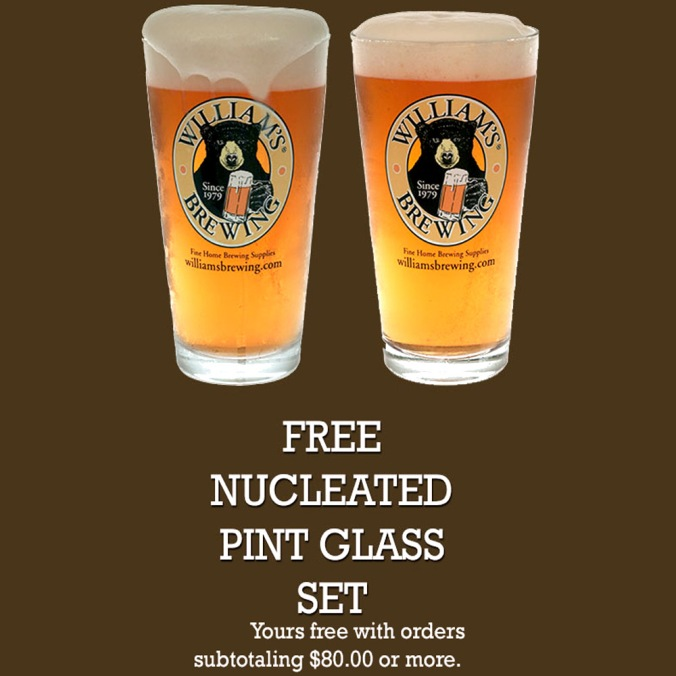 Get a Free Set of Pint Glasses With this Williams Brewing Promo Code and a Purchase of $80