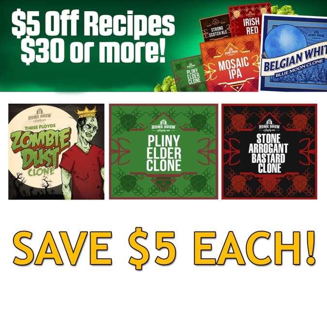 Save $5 On Any Homebrew Recipe Beer Kit Over $30 Plus Flat Rate Shipping with this HomebrewSupply.com Coupon