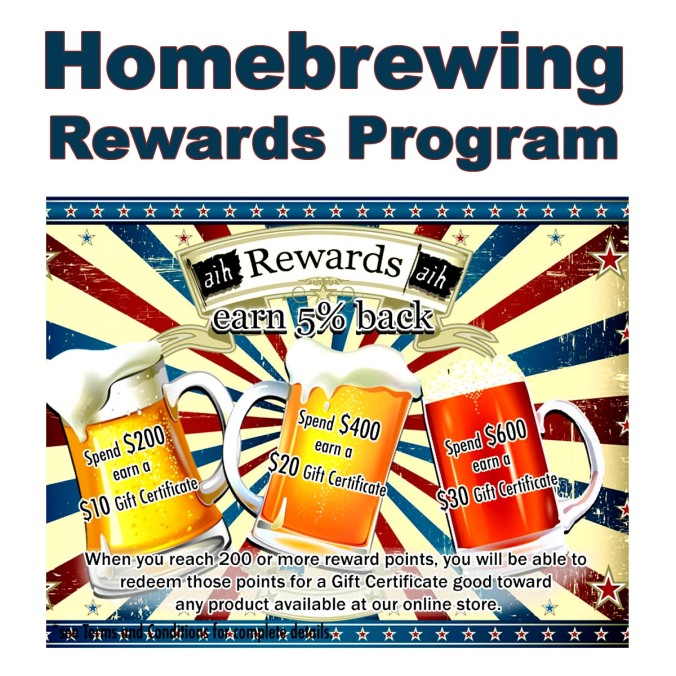 Join the Adventures in Homebrewing Rewards Program! Start saving with each home brewing purchase!