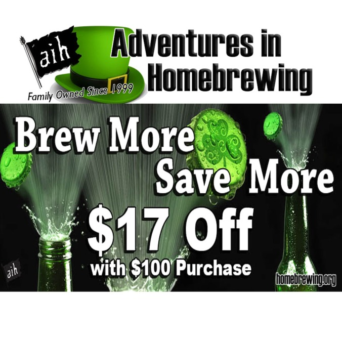 Save $17 on your $100 Purchase at Adventures in Homebrewing!