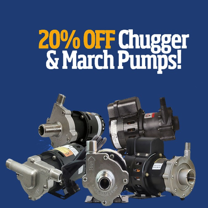 HomebrewSupply.com Promo Code for 20% Off Chugger and March Homebrewing Pumps