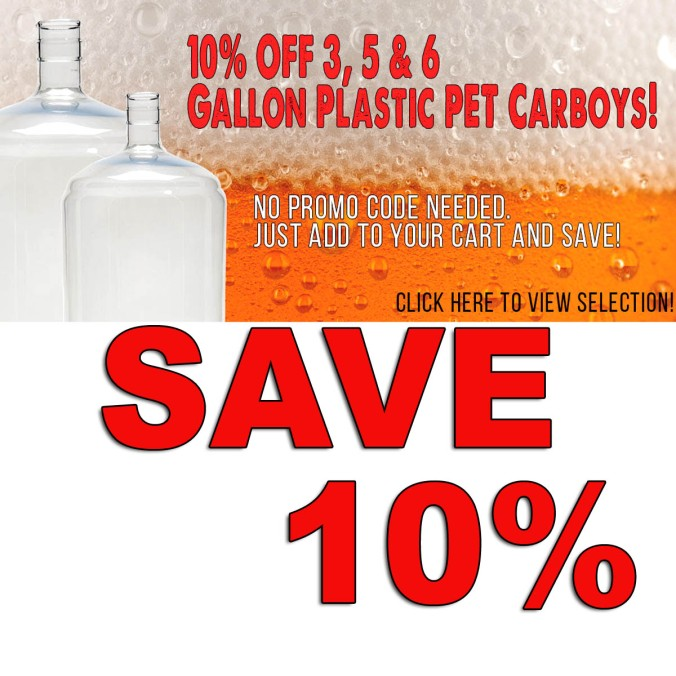 Save 10% On PET Plastic Carboys at MoreBeer.com