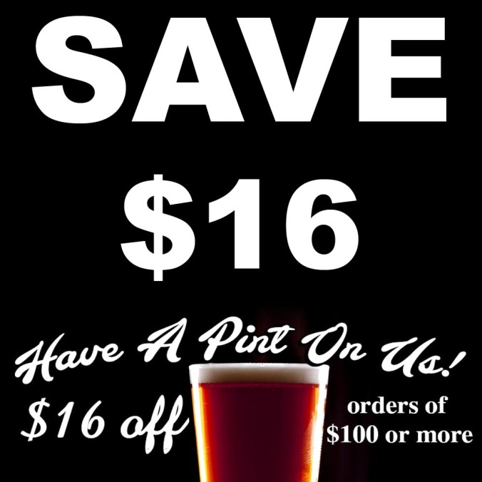 Adventures in Homebrewing Deal! Save $16 On Your $100 Purchase