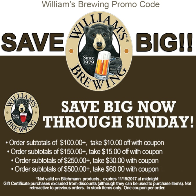 This is a good one!  Save to to $60 on your William's Brewing Purchase from now until Sunday.  WilliamsBrewing.com Promo code! #homebrewing #home #brewing #promo #code #williams #brewing #williamsbrewing