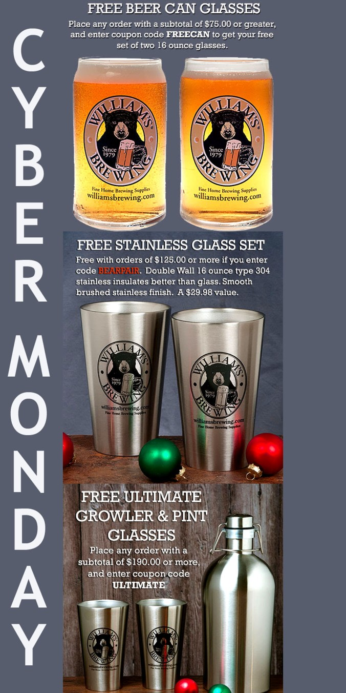 WilliamsBrewing.com Promo Codes for Cyber Monday