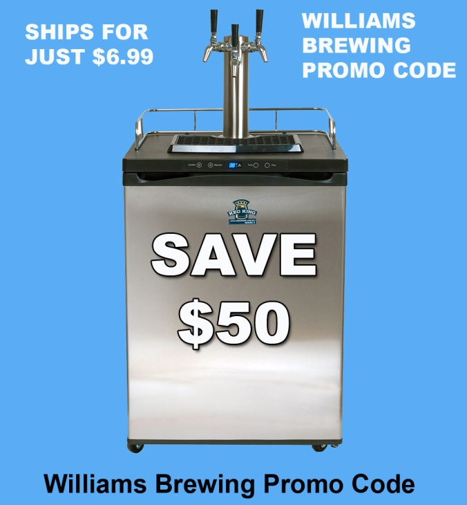 Save $50 on a new Kegerator and get flat rate shipping for just $6.99