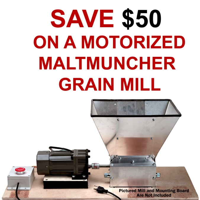 Save $50 On A Malt Muncher Motorized Grain Mill #homebrew #motorized #grain #mill #homebrewing #home #brewing #brewer