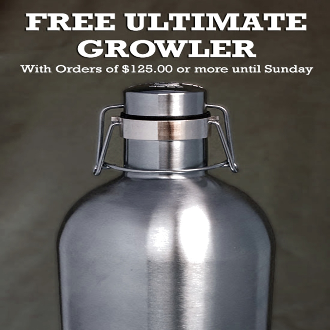 Get a Free Vacuum Sealed Stainless Steel Beer Growler With A $125+ Purchase