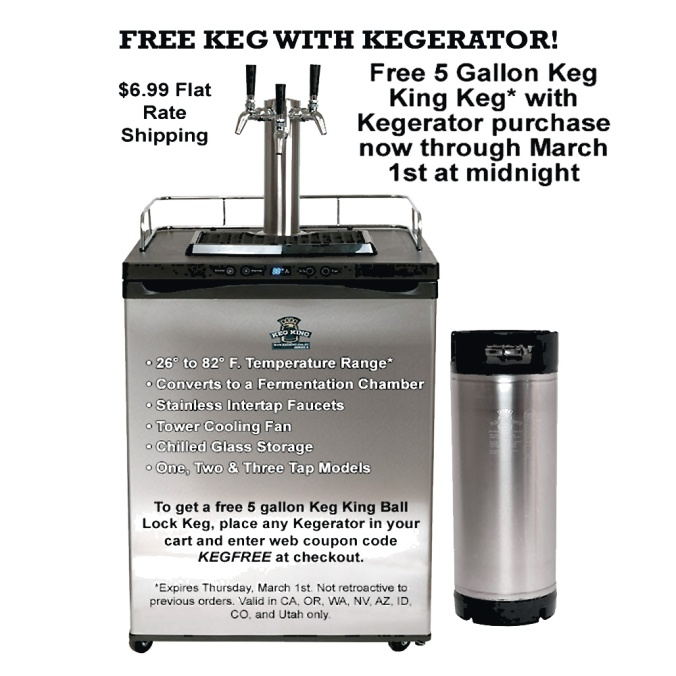 Get a Free 5 Gallon Beer Keg With A Kegerator Purchase + $6.99 Flat Rate Shipping