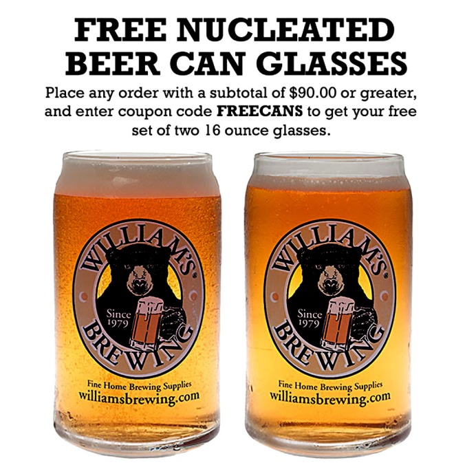 Get a Free Pair Of Beer Can Style Pint Glasses at Williams Brewing With Promo Code