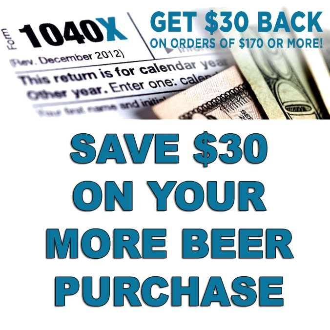Save $30 on your order of $170+ At MoreBeer.com Plus Free Shipping!