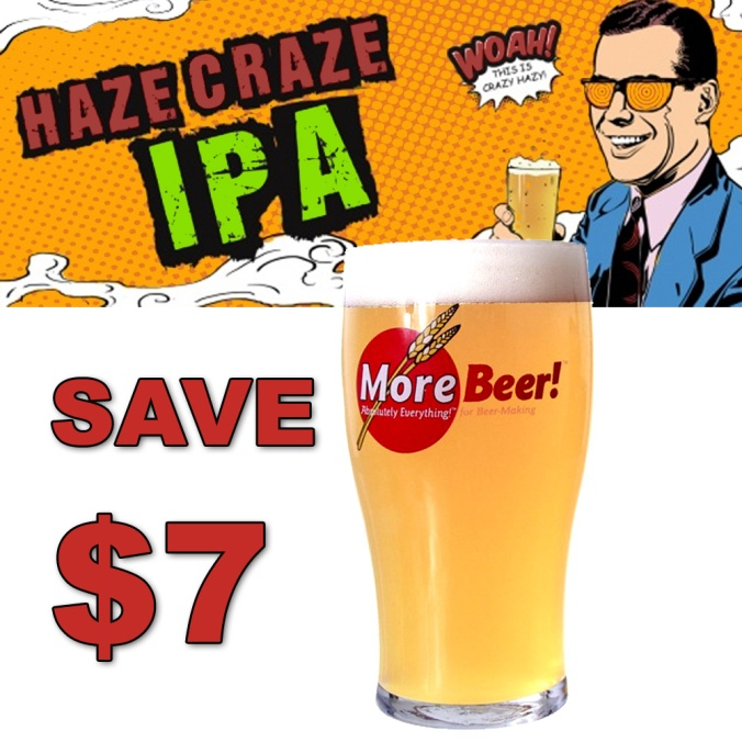 MoreBeer.com Promo Code For $7 Off A Haze Craze Hazy IPA Home Brewing Beer Recipe Kit