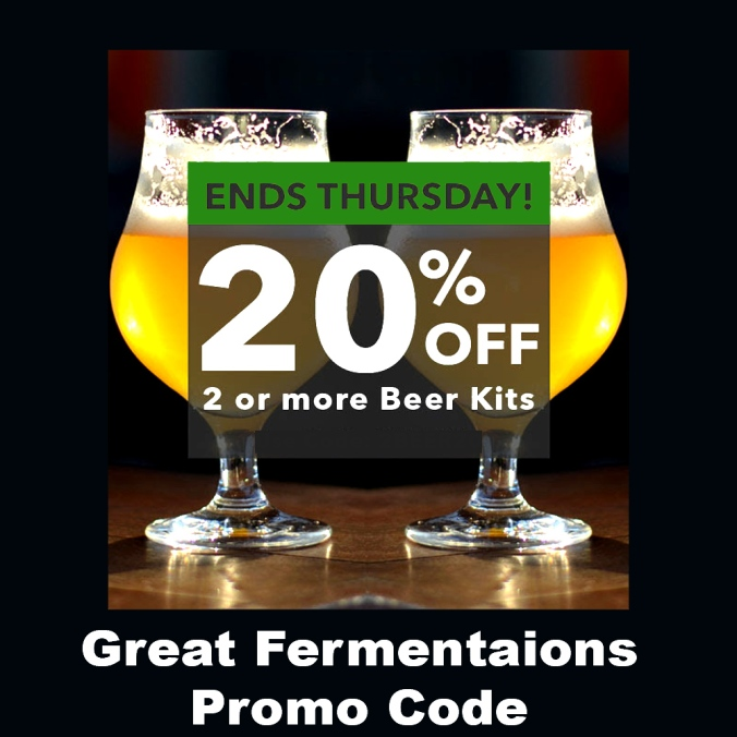 GreatFermentations.com Promo Code - Save 20% When You Buy 2 Or More Homebrewing Beer Kits