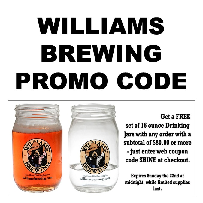 Get a Free Drinking Jar at WilliamsBrewing.com With Promo Code