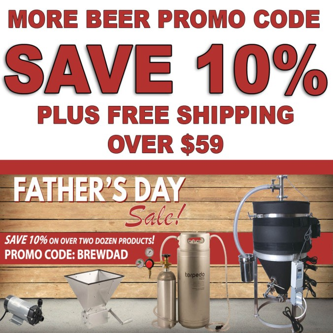 Save 10% On More Beer's Most Popular Home Brewing Items During Their Father's Day Sale!