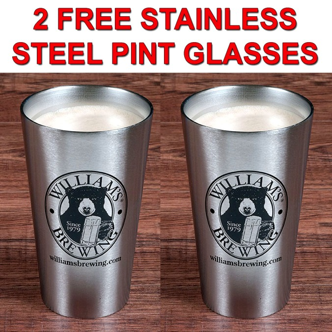 WillamsBrewing.com Promo Code - Get 2 FREE Insulated Stainless Steel Pint Glasses With A $99+ Purchase