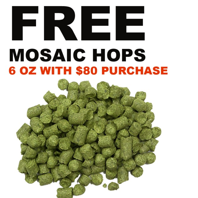 Get 6 Ounces of Mosaic Hops FREE with an $80 Purchase and this Williams Brewing Promo Code