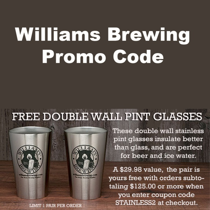 Get 2 FREE Stainless Steel Pint Glasses At WilliamsBrewing.com With Promo Code
