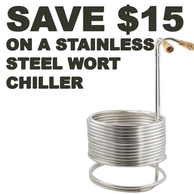Save $15 On A NEW Stainless Steel Wort Chiller