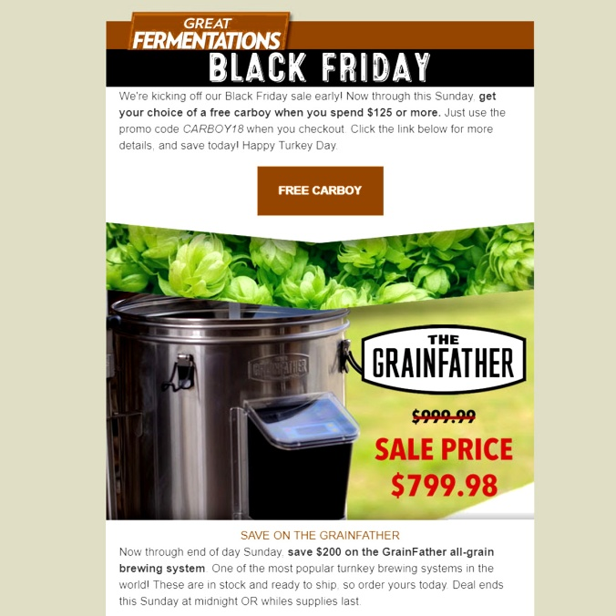 Greatfermentations.com Black Friday Promo Code Save $200 On A Grain Father.