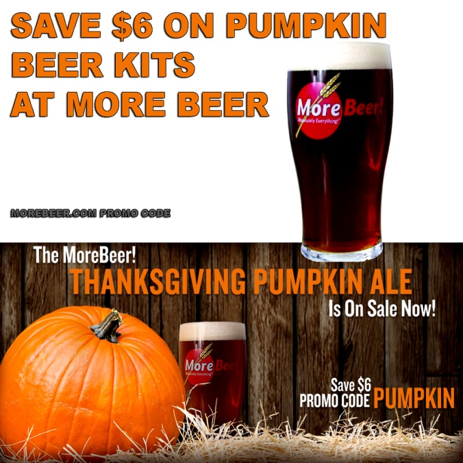 Save $6 On Pumpkin Ale Beer Kits At MoreBeer.com with Promo Code PUMPKIN