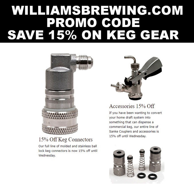 Save 15% At WilliamsBrewing.com on Keg Accessories