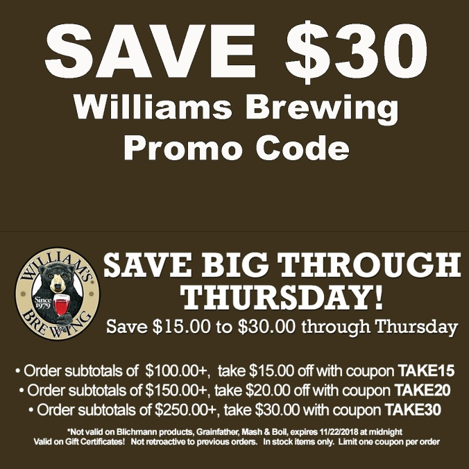 Use these WilliamsBrewing.com Promo Codes and Save Up To $30 at Williams Brewing
